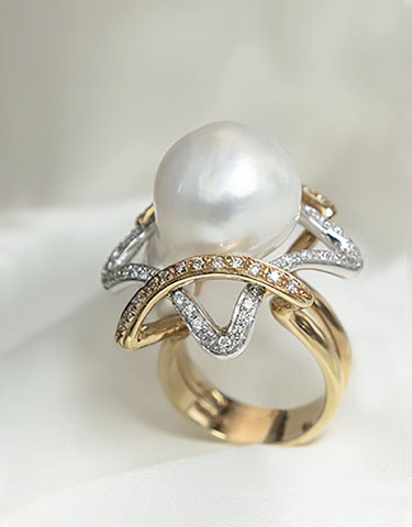 Anello con perla Sputh Sea